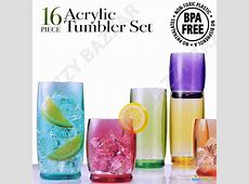 16 Acrylic Plastic Tumbler Water Drinking Glasses Drink