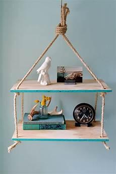 pinnwand selber bauen diy hanging rope shelf