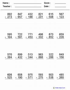 digit subtraction math worksheet subtraction worksheets dynamically created subtraction