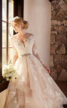 sleeved wedding dresses wedding dress with long illusion lace sleeves essense of australia