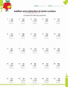 adding and subtracting whole numbers worksheets whole numbers worksheets for kids from grade 1 through 6