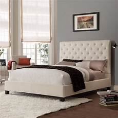 buy size contemporary platform bed with beige linen