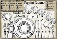 posizione dei bicchieri a tavola vintage place setting formal dinner stock