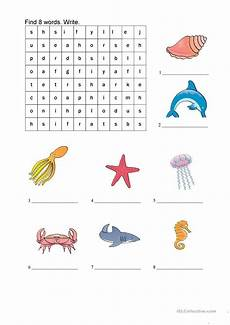 word search sea animals worksheet free esl printable worksheets made by teachers