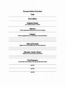 resume outline workshet 5 customizable resume outline templates and worksheets hloom