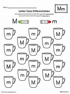 letter case recognition worksheet letter m myteachingstation com