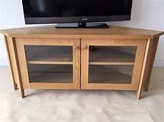 Ikea Skoghall Oak Corner Tv Media Unit Stand Glass Doors