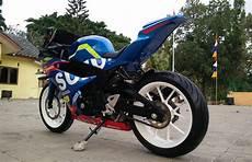 Modifikasi Motor Gsx R150 by Modifikasi Suzuki Gsx R150 Jadi Kece Paduan Motogp Dan Bsb