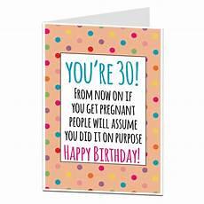 30th birthday card for getting joke