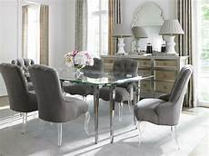helen 7pcs traditional glass top rectangular silver dining room table chairs ebay