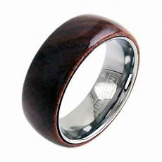 wood ring w polished tungsten inside band intellirings