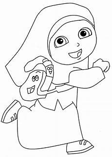 Gambar Mewarnai Anak Muslim Untuk Anak Paud Dan Tk