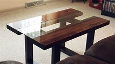glass wood coffee table with faux metal legs