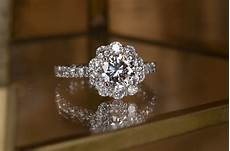 flower shaped diamond engagement ring and eternity band