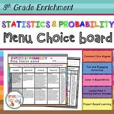 statistics and probability worksheets 8th grade 6005 8th grade statistics and probability choice board enrichment math menu