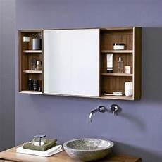 armoire de toilette en teck 120 cm miroirs salle de bain