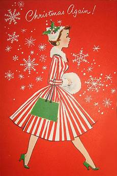 vintage christmas cards paint the gown
