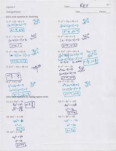 quadratics review worksheet answers
