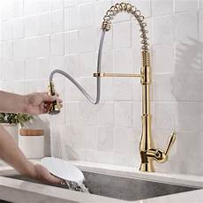 faucets kitchen sink polished gold single handle kitchen sink faucet pull sprayer