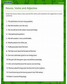 nouns verbs and adjectives fun and printable fourth grade grammar worksheet grammar
