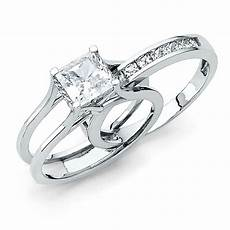 square princess cut 2 piece engagement wedding ring band