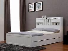 lit mederick avec rangements et tiroirs 140x190 pin blanc