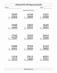 addition and subtraction worksheets with and without regrouping 9679 4 digit addition without regrouping worksheets