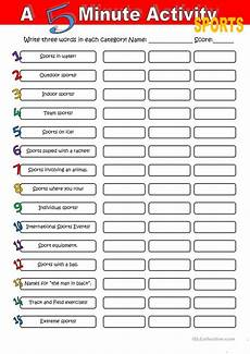 sport worksheets for year 1 15896 a 5 minute activity sport worksheet free esl printable worksheets made by teachers