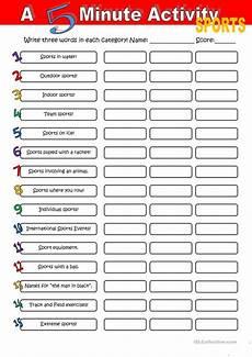 a 5 minute activity sport worksheet free esl printable worksheets made by teachers