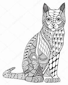Ausmalbilder Katzen Mit Muster Katze Zentangle Stilisiert Vektor Illustration Muster
