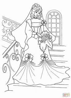 Free Printable Wedding Coloring Books Ausmalbild Prinzessin Im Hochzeitskleid Ausmalbilder