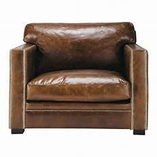 fauteuil en cuir fauteuil en cuir marron dandy maisons du monde