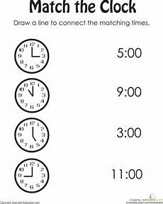 time worksheet kindergarten to the hour 3586 match the clock clock worksheets kindergarten worksheets grade math worksheets