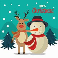 free vector merry christmas cartoon greeting card design