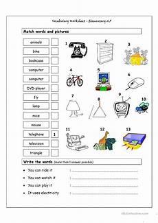 vocabulary matching worksheet elementary 2 5 worksheet