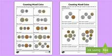 money lessons ks1 2564 counting mixed coins worksheet activity sheet uk currency