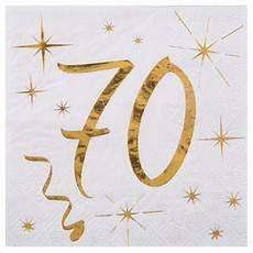 20 serviettes anniversaire 70 ans blanc et or drag 233 es