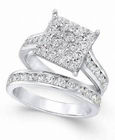 macy s diamond square cluster bridal 2 ct t w in 14k white gold rings jewelry