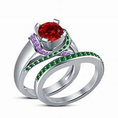 multi color disney ariel princess bridal ring 14k white gold over 925 silver cz