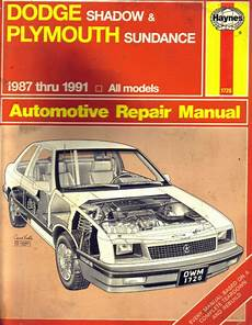 free online auto service manuals 1996 plymouth grand voyager electronic valve timing haynes repair manual dodge shadow sundance 1987 91 ebay