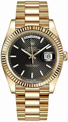 228238 black diagonal index rolex day date 40mm yellow