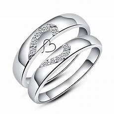 cubic zirconia diamond accents half heart couple ring sterling silver personalized cute heart