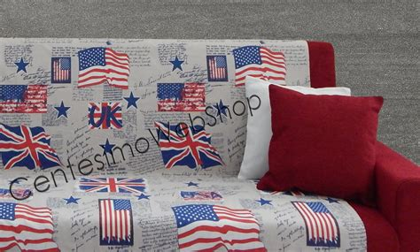 Telo Copritutto Singolo Made Italy Bandiere Usa Uk Beige