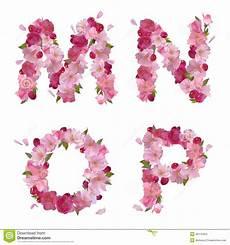 Alphabet With Cherry Flowers Mnop Stock Vector
