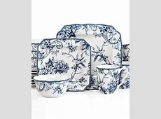 222 Fifth Adelaide Blue Square 16 Pc. Set, Service for 4