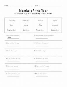 worksheets months 18961 months of the year worksheet education