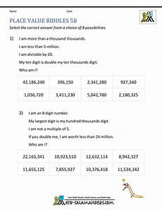 place value worksheets and answers 5013 place value worksheet up to 10 million