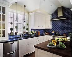 Blue Tile Backsplash Kitchen Navy Blue And White Kitchen Mi Cocina Blue Kitchen