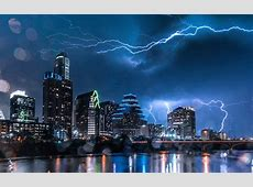 Austin, Texas, Cityscape, Night, Storm Wallpapers HD