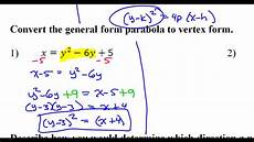 day 7 hw 1 and 2 convert the general form parabola to